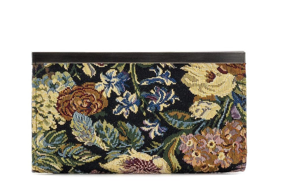 Patricia Nash Cauchy Frame Clutch Wallet Woven Floral