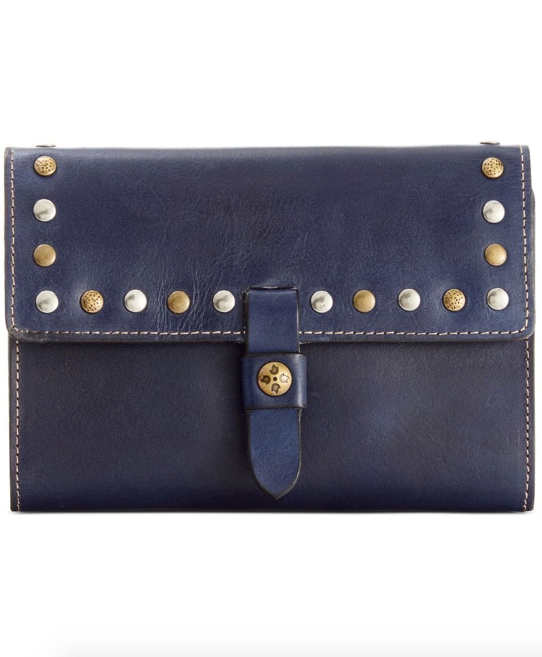 Patricia Nash Women's Italian Leather Colli Trifold Clutch Wallet Blue