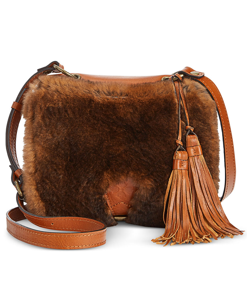 Patricia Nash Women's Italian Leather Karisa Crossbody Shoulder Bag Tan Fur