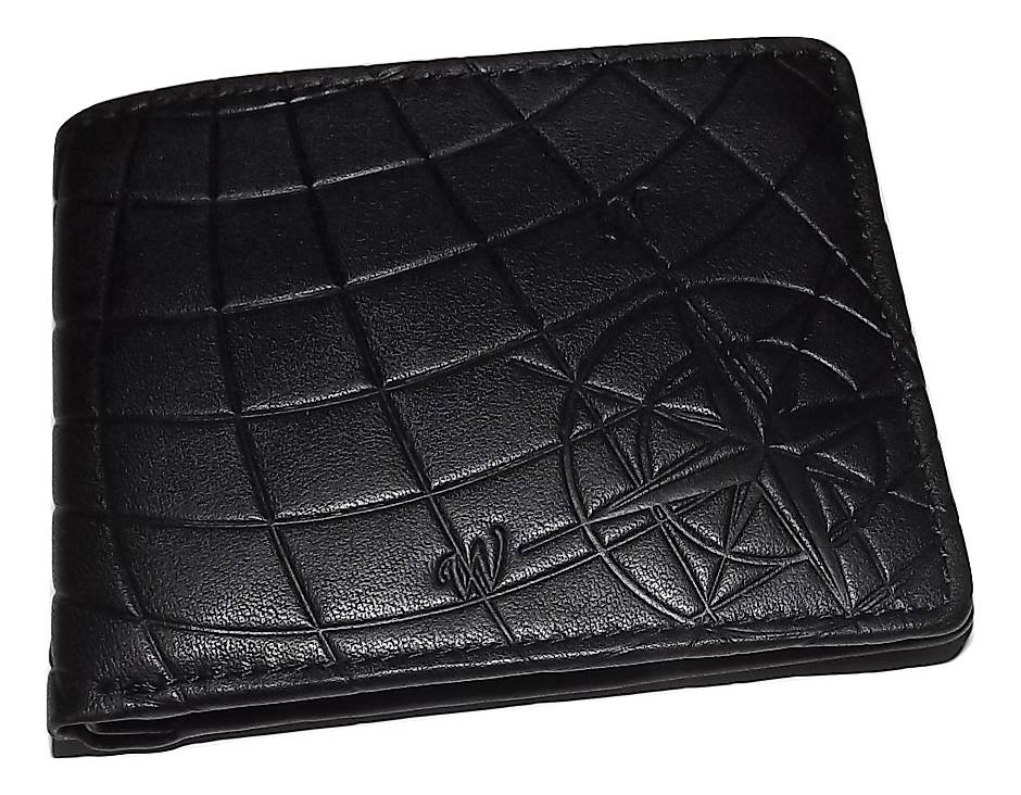 Patricia Nash Leather Embossed Compass Double Billfold Wallet Black