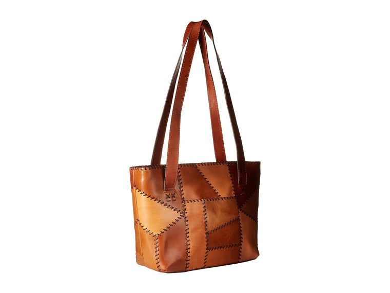 Patricia Nash Women's Italian Leather Nevoso Tote Shoulder Bag Patchwork Tan
