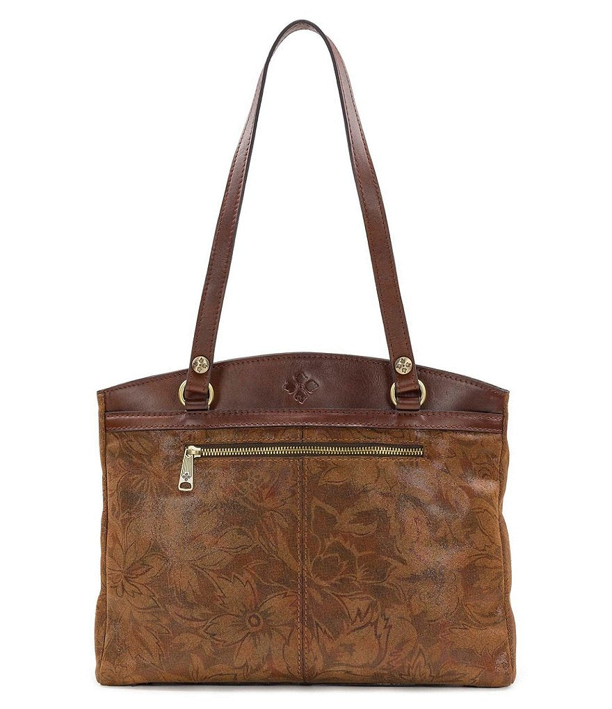 Patricia Nash Leather Napa Etched Floral Poppy Tote Shoulder Bag Tan