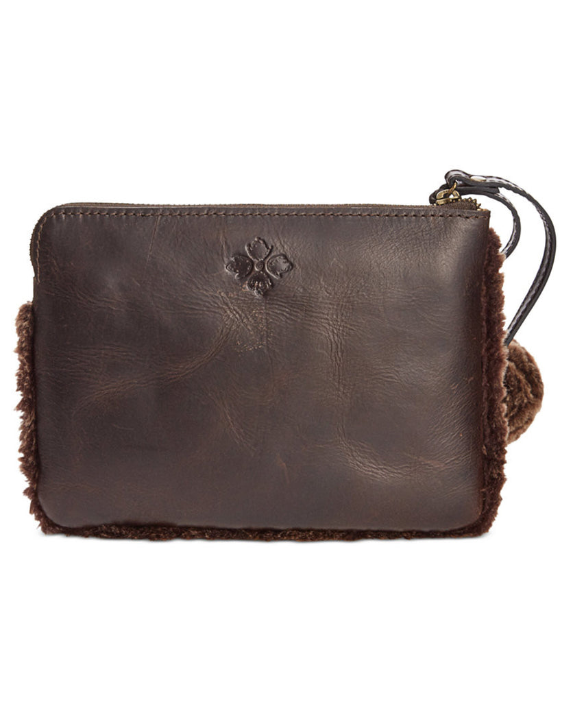 Patricia Nash Women's Italian Leather Sherpa Cassini Wristlet Wallet Chocolate