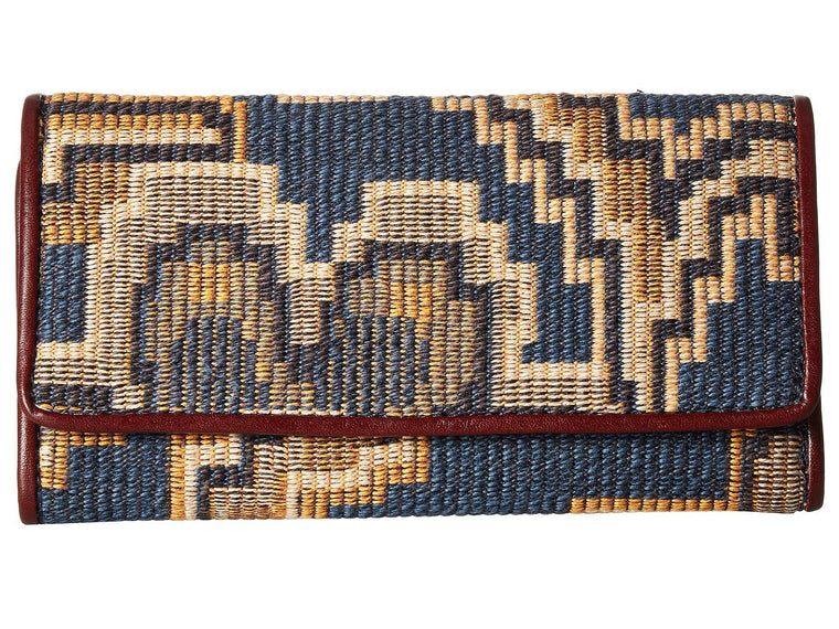 Patricia Nash Terresa Peruvian Tapestry Trifold Wallet Blue