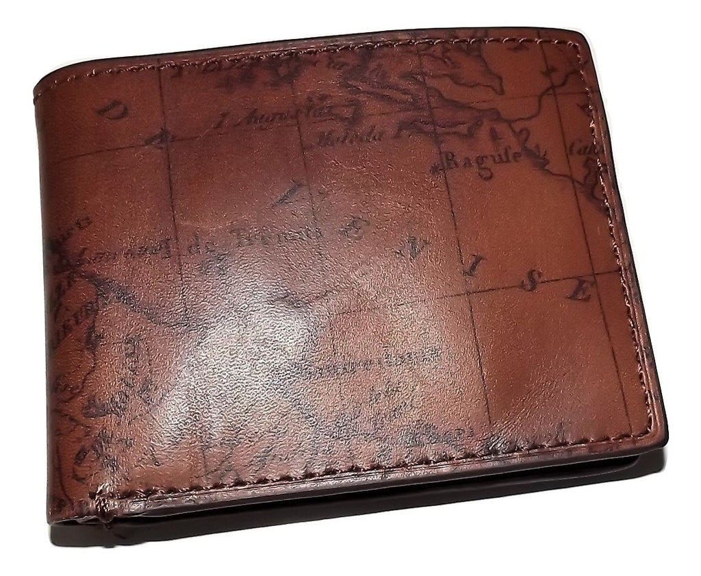Patricia Nash Leather Vintage Map Bifold ID Wallet