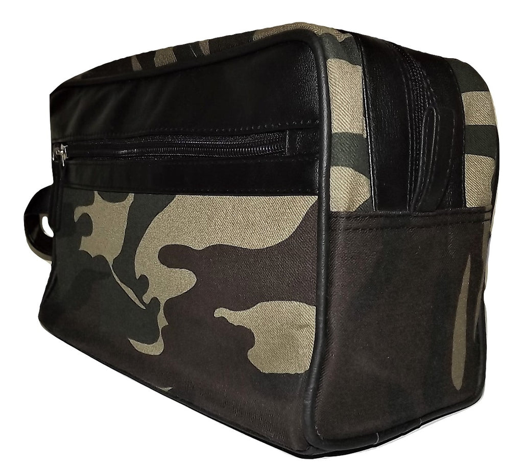Paul & Taylor Camo Canvas & Leather Toiletry Bag