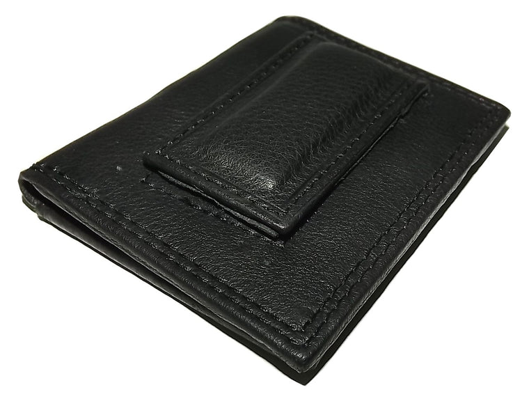 Paul Taylor Leather Front Pocket Money Clip ID Wallet Black