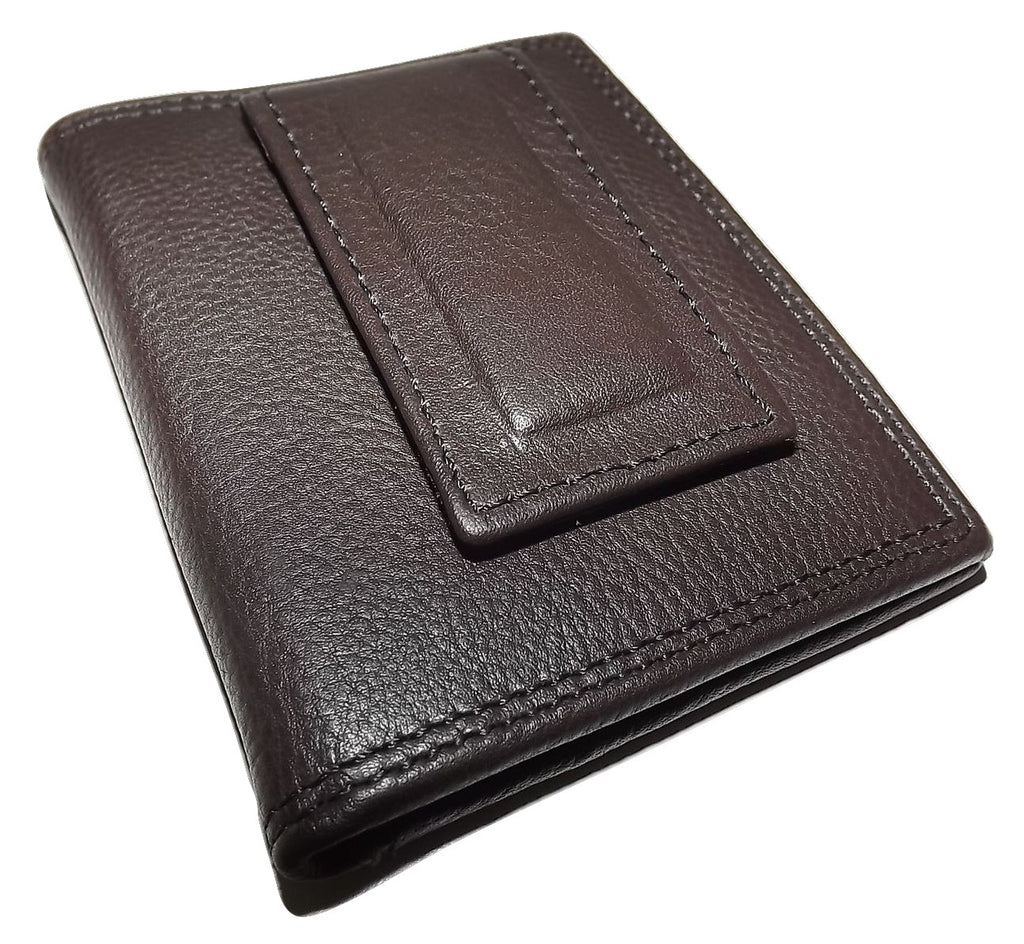 Paul Taylor Leather Front Pocket Money Clip ID Wallet Brown