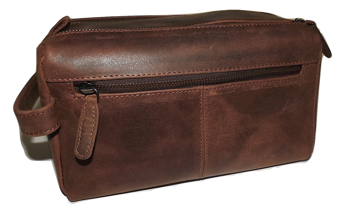 Paul & Taylor Hunter Dual Zip Travel Shave Kit Brown