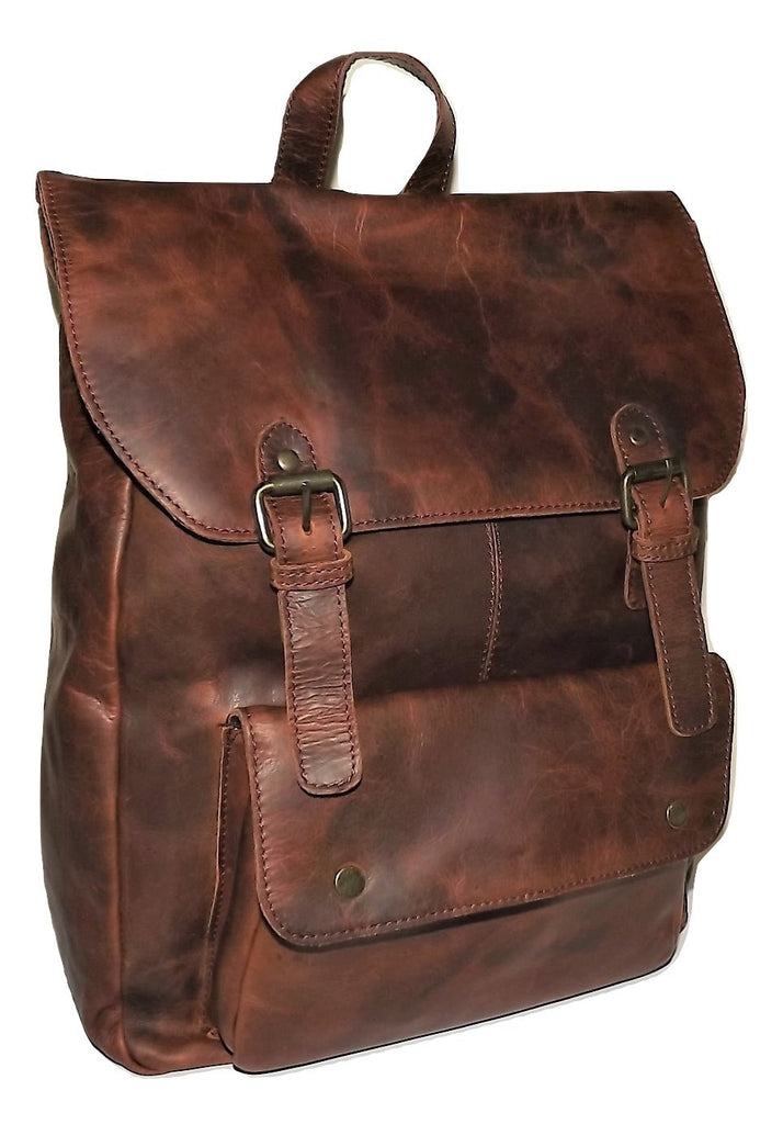 Gaucho Rugged Vintage Leather Front Flap Laptop Backpack