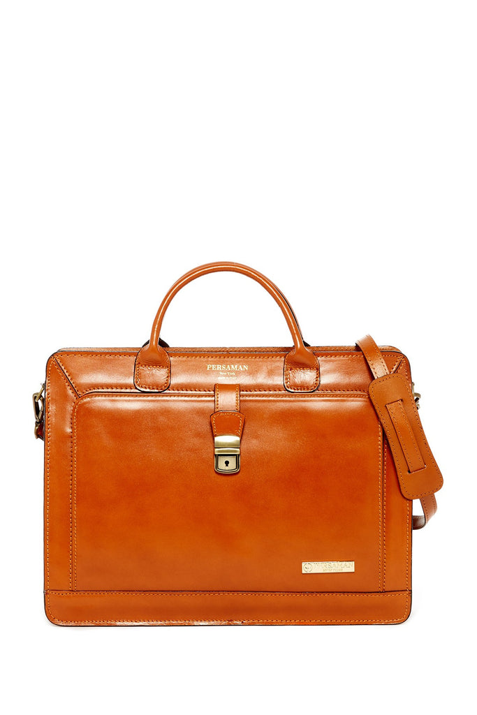 Persaman New York Elvin Italia Leather Double Gusset Briefcase