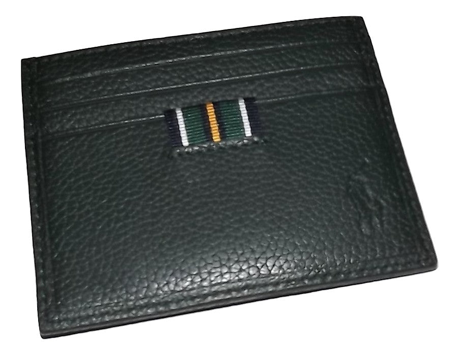 Polo Pebbled Leather Card Case Green