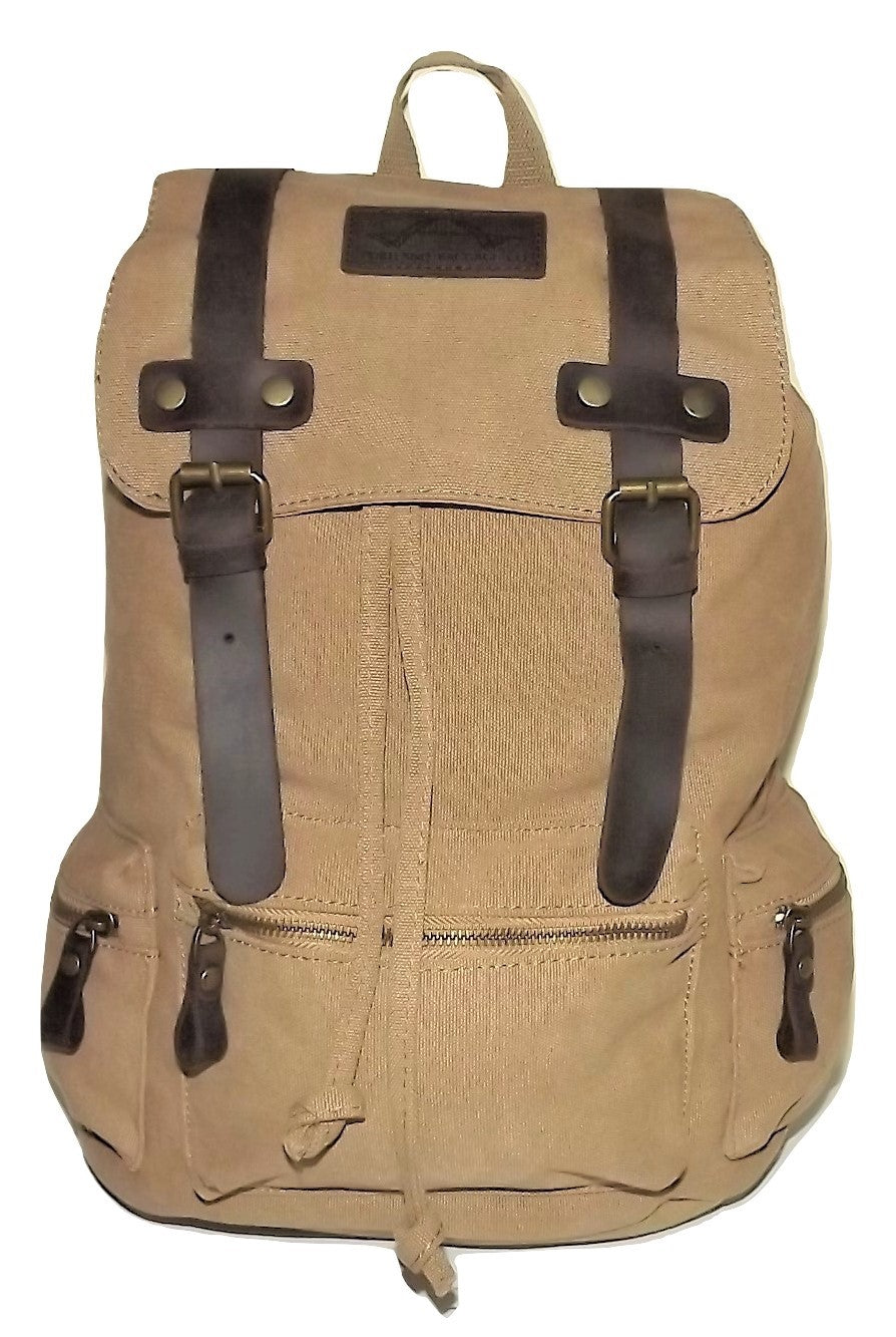 Portland Baggage Excursion Canvas & Leather Backpack Olive