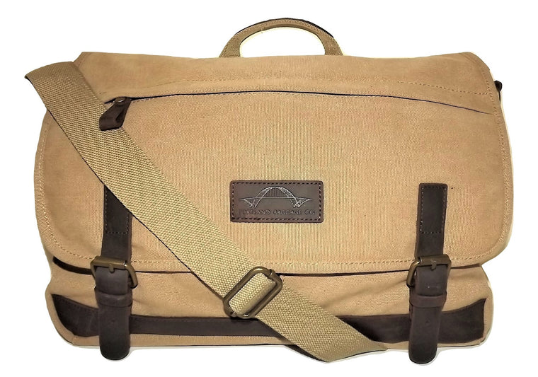 Portland Baggage Co. Retro Laptop Messenger Bag Khaki