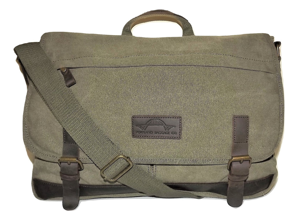 Portland Baggage Co. Retro Laptop Messenger Bag Olive