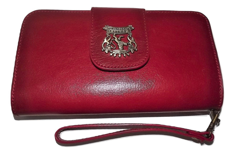 Pratesi Italian Leather Wristlet Clutch Wallet Red