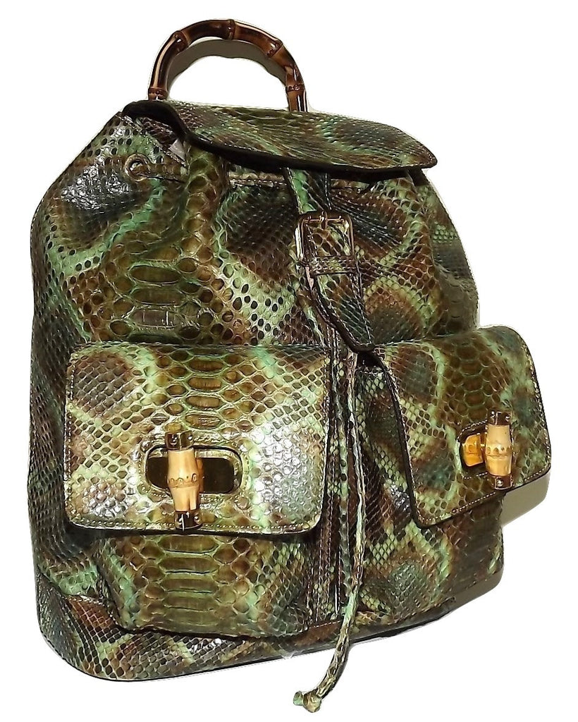 Renero Italia Vero Pitone Genuine Python Snakeskin Drawstring Backpack Green