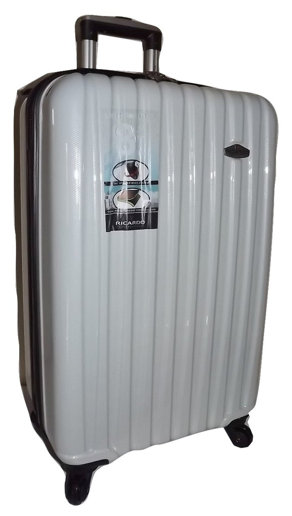 "Ricardo Beverly Hills Claremont 28"" 4 Wheel Spinner Luggage White Carbon"