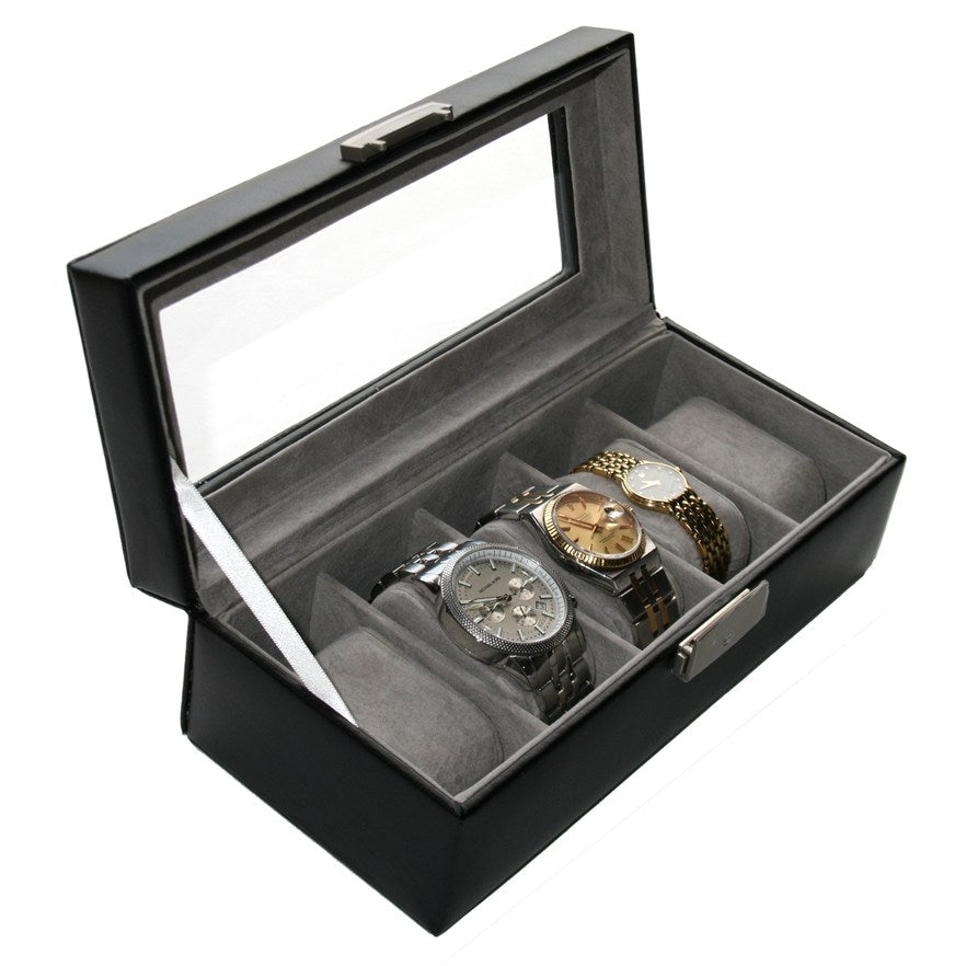 Royce Leather 5 Slot Display Watch Case Black