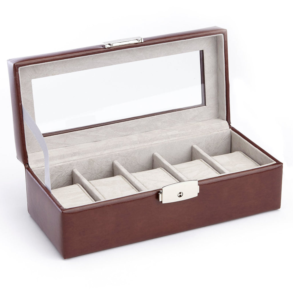 Royce Leather 5 Slot Display Watch Case British Tan