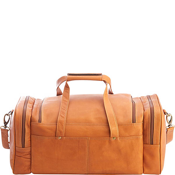 Royce Columbian Leather Overnight Duffel Bag Tan