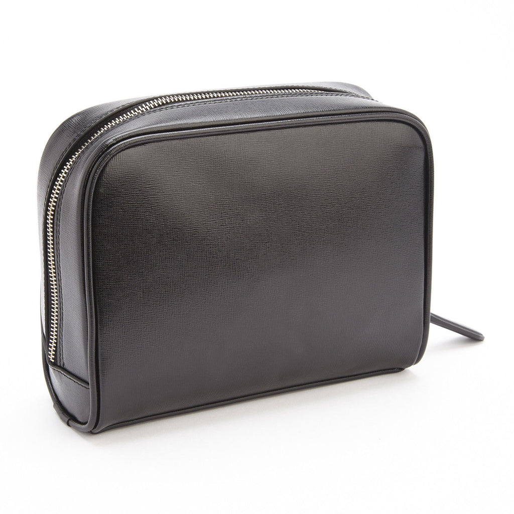 Royce Saffiano Leather Toiletry Travel Shave Bag Black