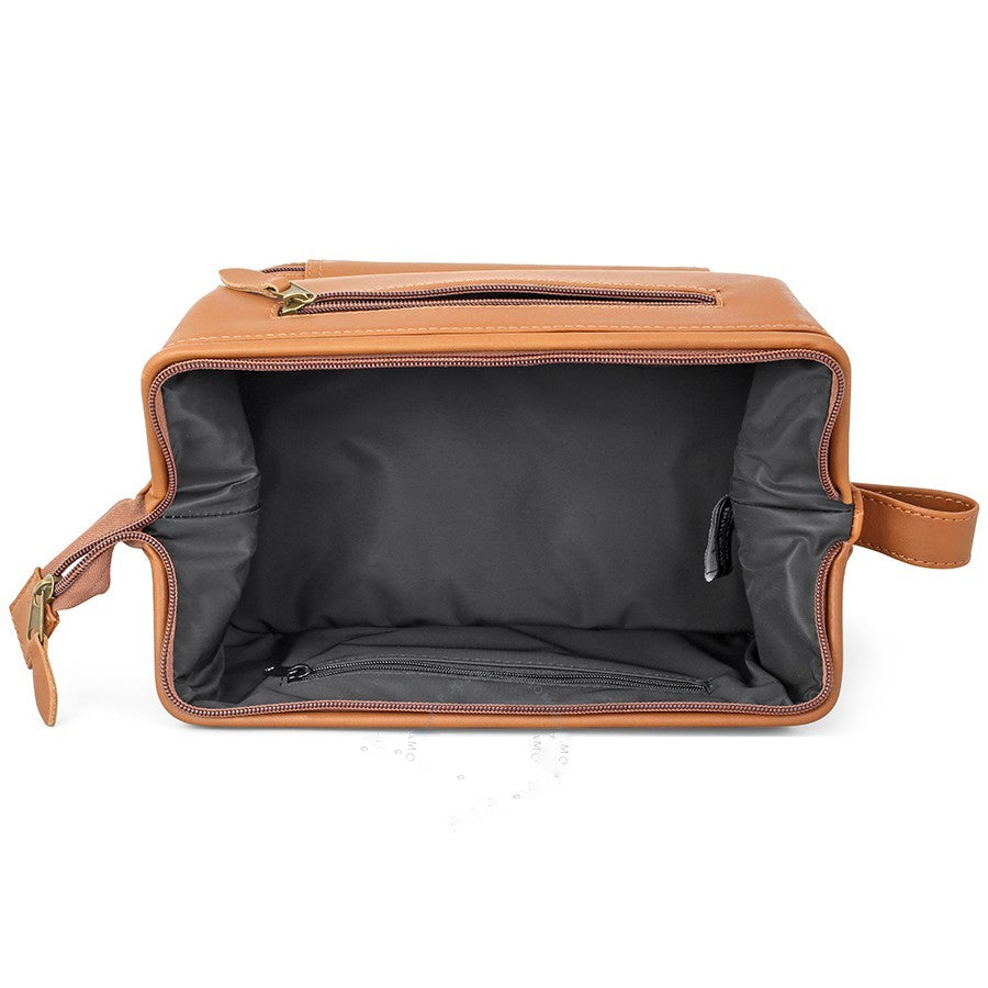 Royce Dual Compartment Toiletry Travel Shave Kit Tan