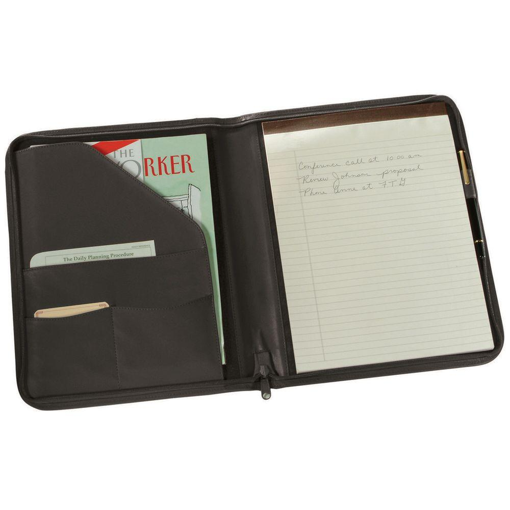 Royce Zippered Writing Portfolio Organizer Black