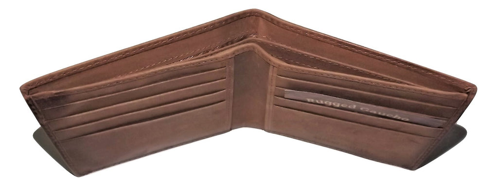 Rugged Gaucho Leather Bifold 8 Pocket Wallet Camel