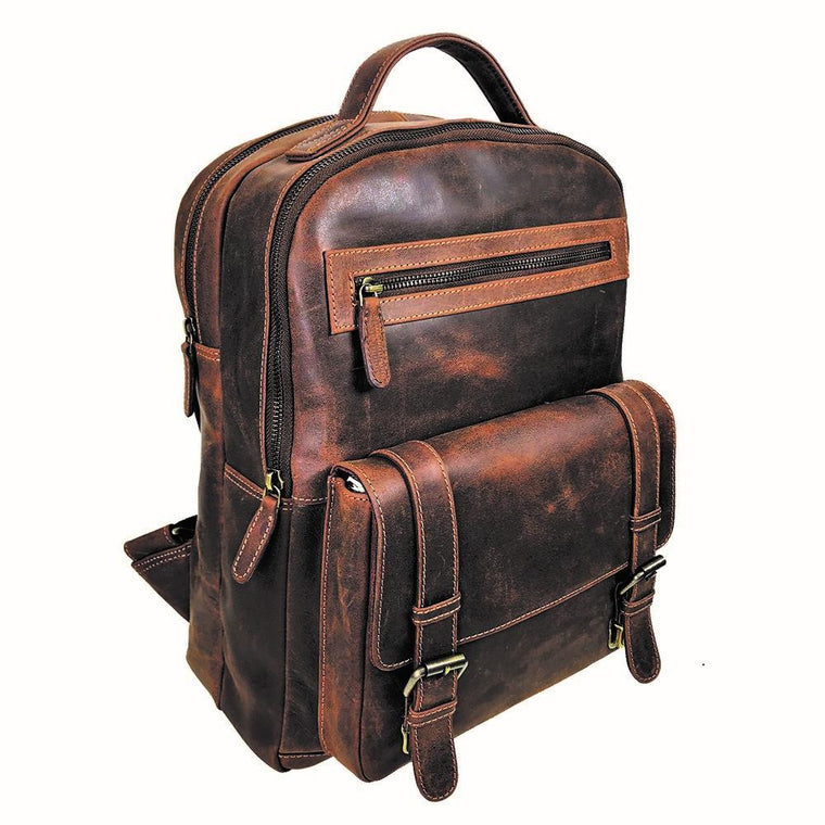 Rugged Gaucho Leather Dual Compartment Laptop Backpack