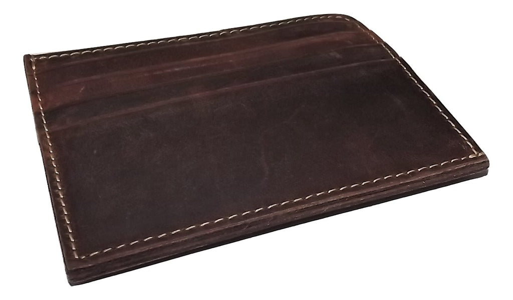 Rugged Gaucho Front Pocket Magnetic Card Case Wallet Walnut