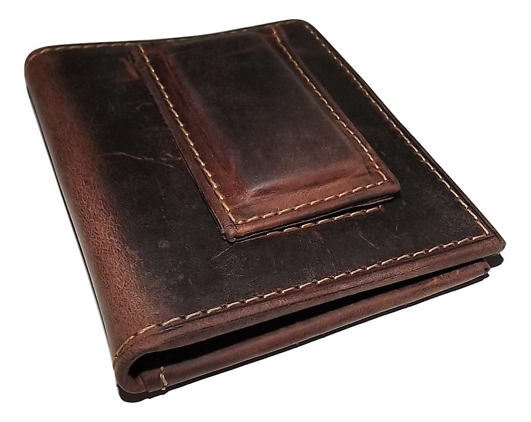 Rugged Gaucho Magnetic Money Clip Wallet Walnut