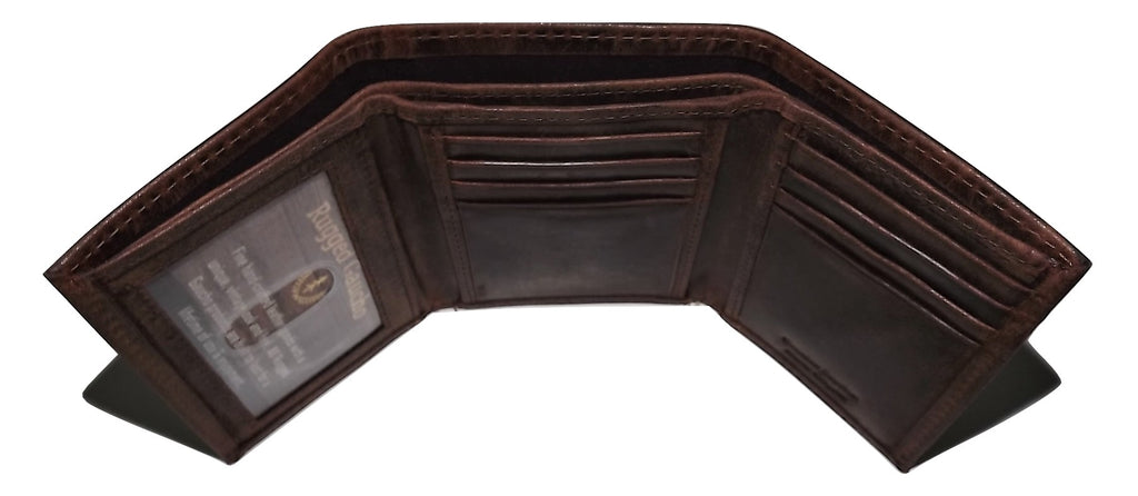 Rugged Gaucho Men's Trifold ID Wallet Walnut