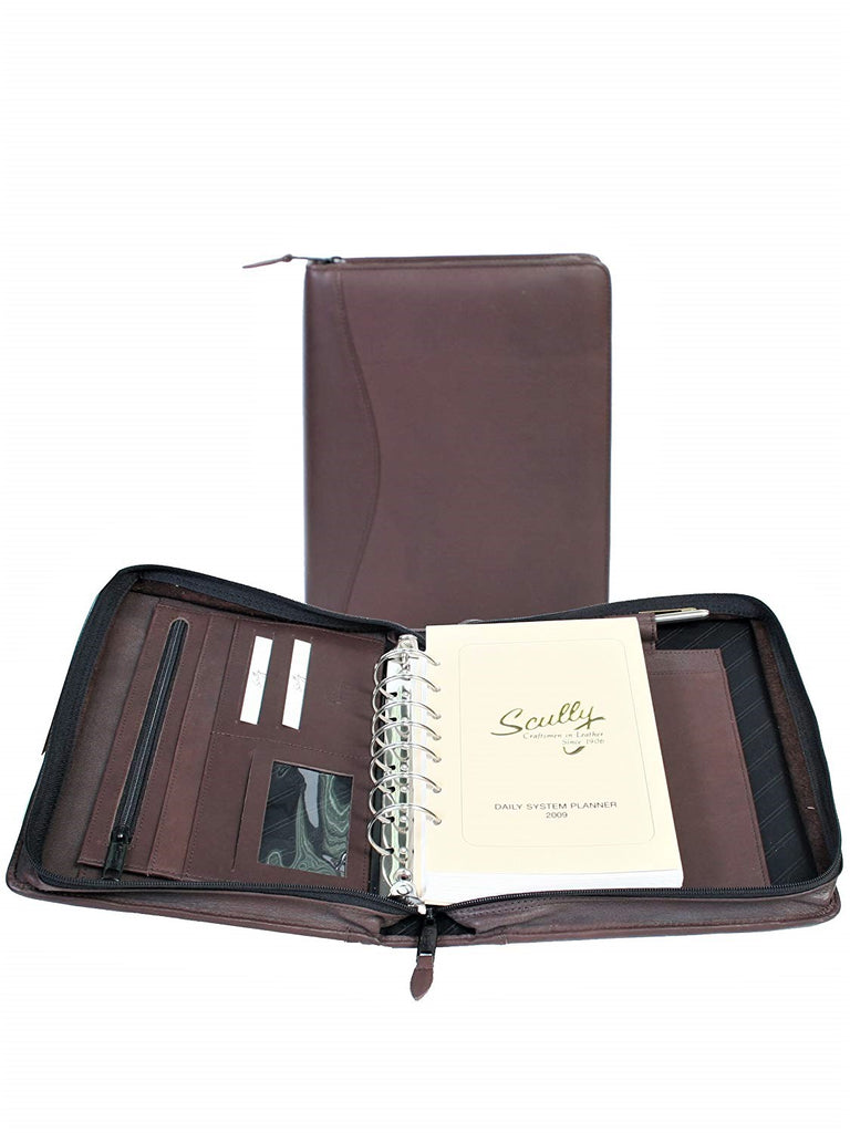 Scully Leather 7 Ring Agenda Planner Chocolate