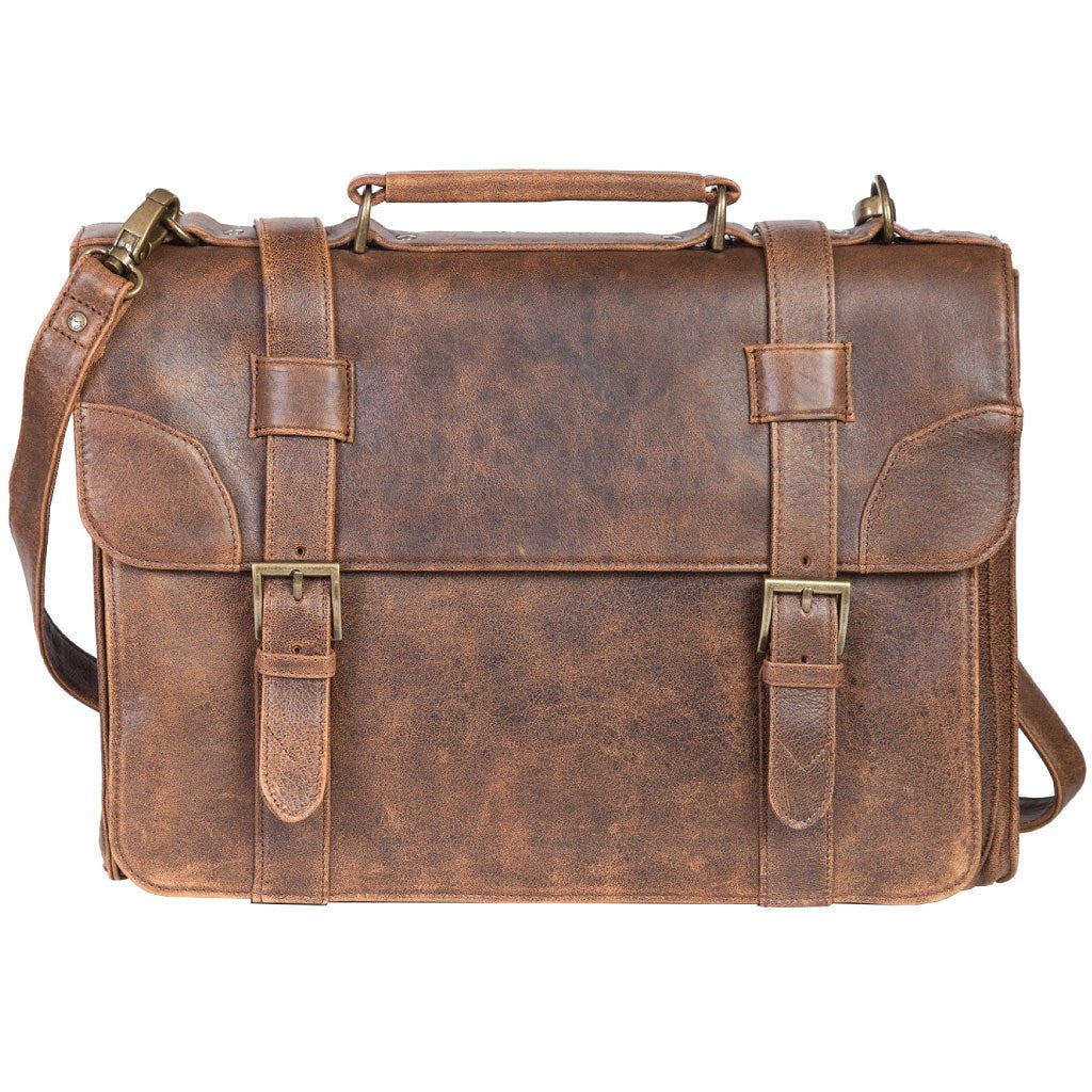 Scully Aero Squadron Leather Satchel Laptop Briefcase