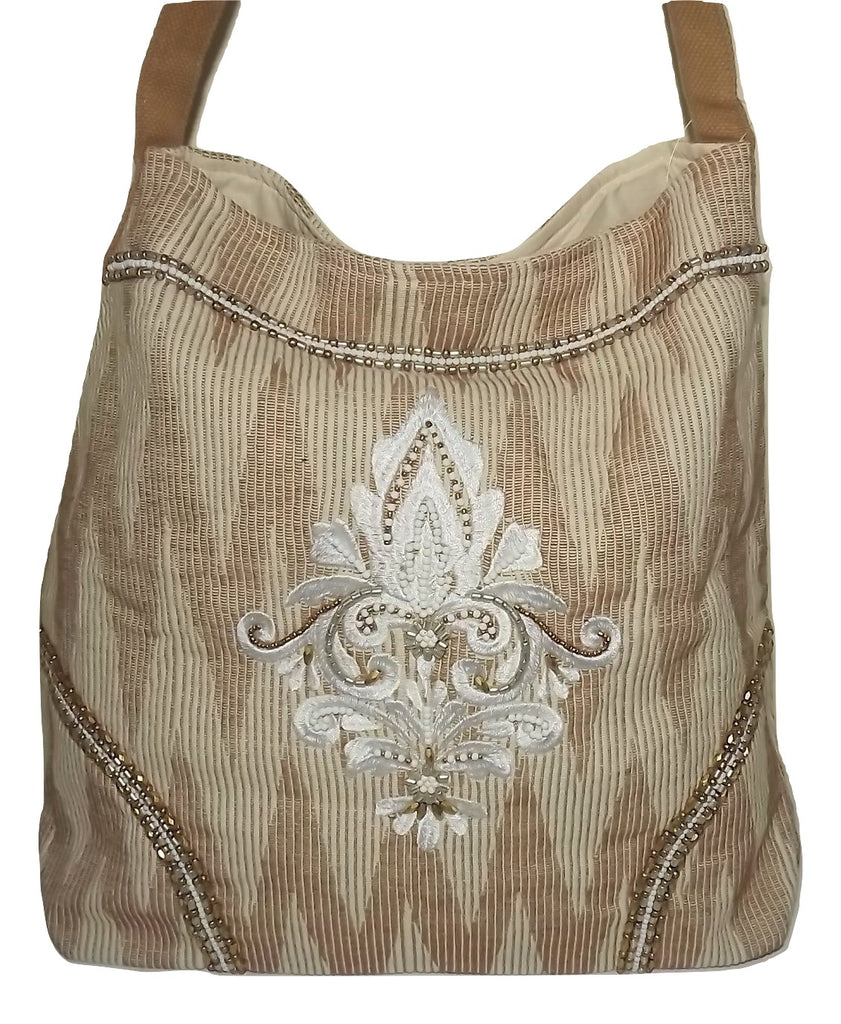 Scully Cantina Large Beaded Tote Shoulder Bag Natural