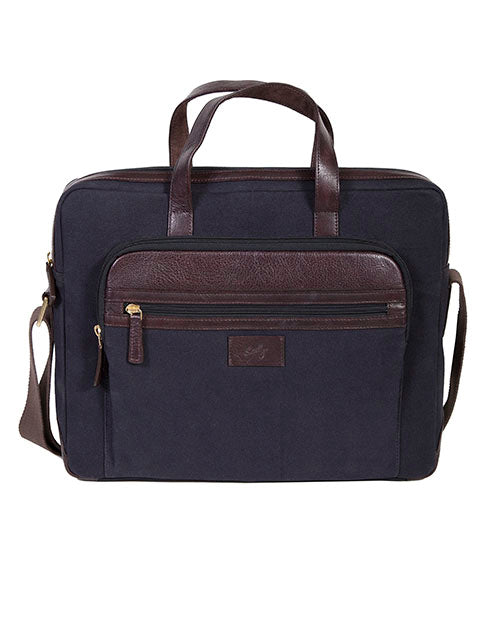 Scully Canvas & Leather Slim Laptop/Tablet Brief Bag
