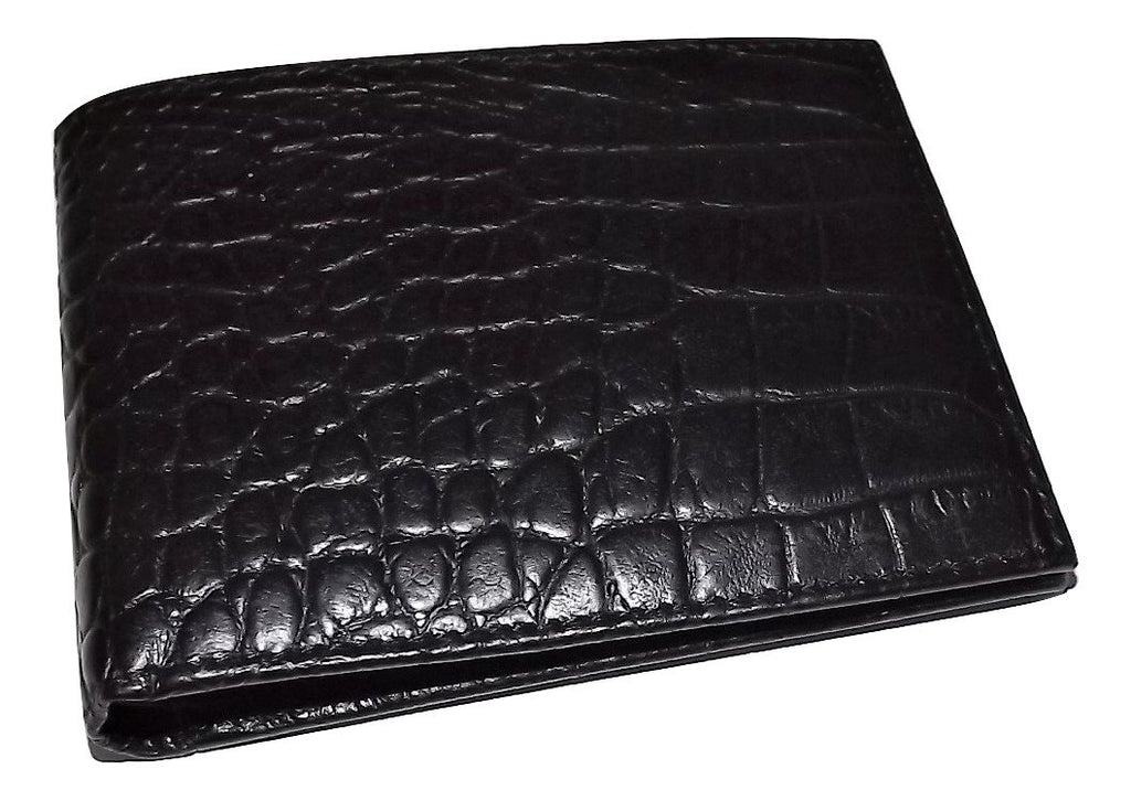 Scully Croc Embossed Leather Bifold 8 Pocket Wallet Black