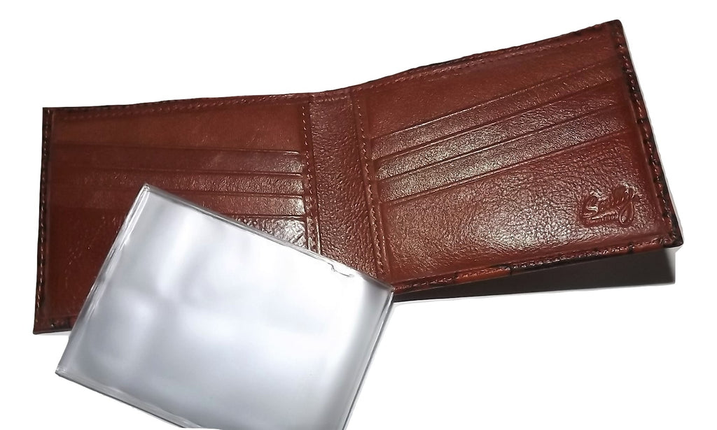 Scully Croc Embossed Leather Bifold 8 Pocket Wallet Cognac