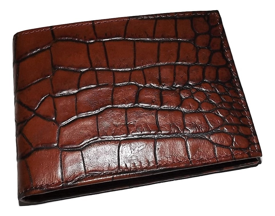 Scully Croc Embossed Bifold Passcase ID Wallet Cognac