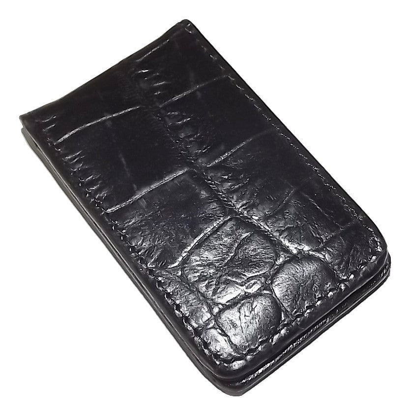Scully Croc Embossed Leather Magnetic Money Clip Black