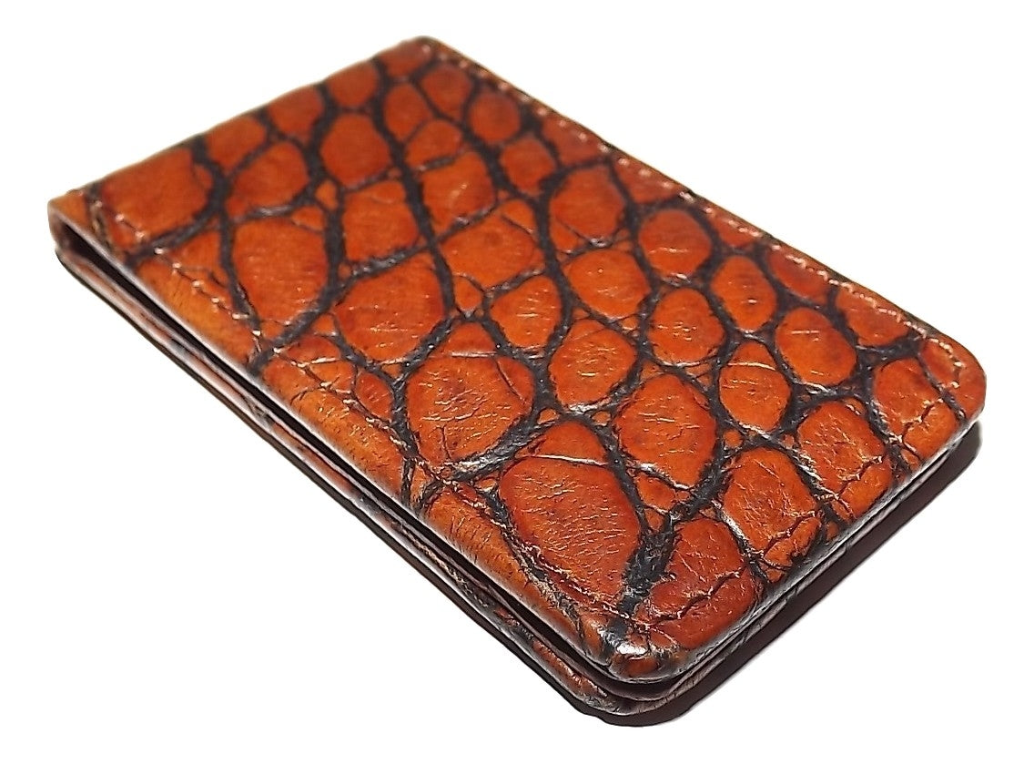 Scully Croc Embossed Leather Magnetic Money Clip Cognac