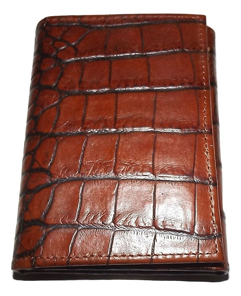Scully Croc Embossed Leather Trifold Wallet Cognac