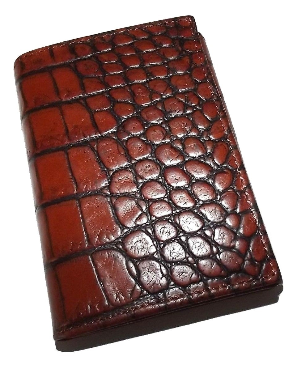 Scully Croc Embossed Trifold Wallet Cognac