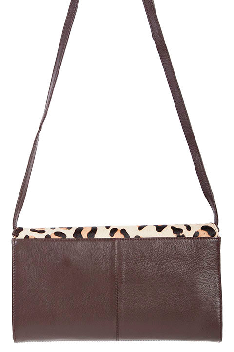 Scully Leather Cheetah Print Crossbody Shoulder Bag Brown