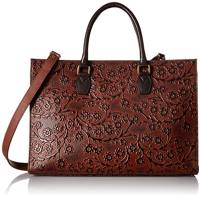 Scully Leather Floral Embossed Top Handle Tote Shoulder Bag