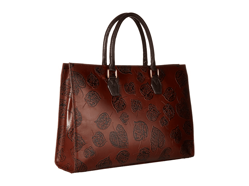 Scully Leather Leaf Embossed Top Handle Tote Bag Brown