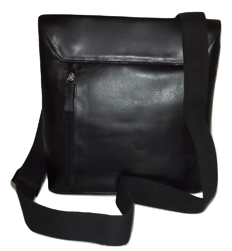 Scully Hidesign Leather Front Flap Tablet Crossbody Bag Black