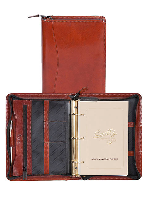 Scully Italian Leather 3 Ring Weekly/Monthly Agenda Cognac