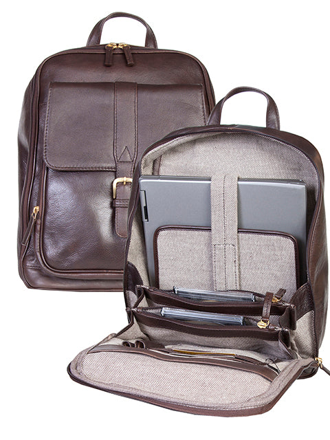 Scully Leather Laptop Business Backpack Brown